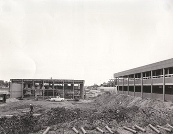 Construction of C Block and the canteen (front) and B Block (right) in September, 1967.